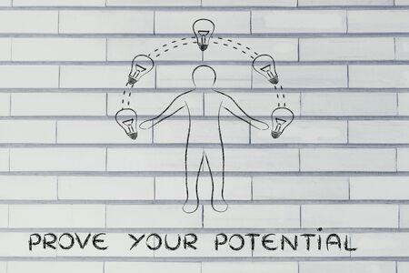 prove: prove your potential: man juggling ideas (lightbulb illustration) Stock Photo