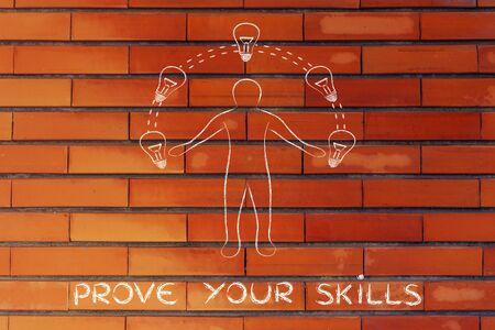 competitive advantage: prove your skills: man juggling ideas (lightbulb illustration) Stock Photo