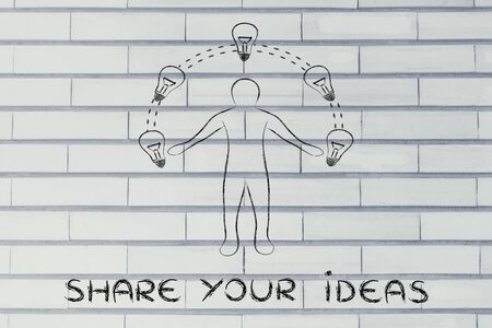competitive advantage: share your ideas: man juggling ideas (lightbulb illustration)