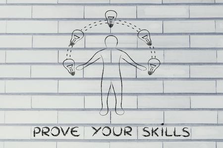 different jobs: prove your skills: man juggling ideas (lightbulb illustration) Stock Photo