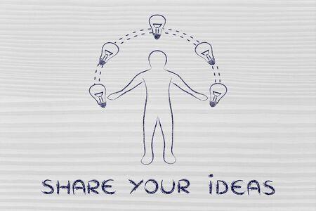 different jobs: share your ideas: man juggling ideas (lightbulb illustration)