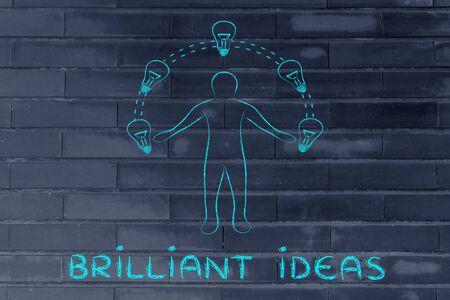 brilliant ideas: Brilliant ideas: man juggling ideas (lightbulb illustration)