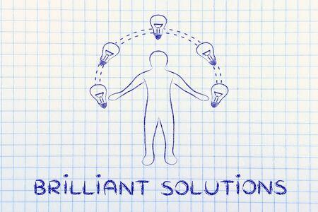 different jobs: Brilliant solutions: man juggling ideas (lightbulb illustration)
