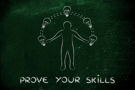 prove: prove your skills: man juggling ideas (lightbulb illustration) Stock Photo