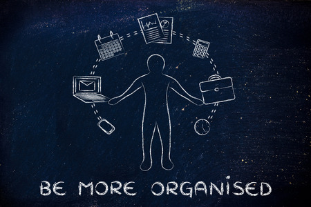 organised: be more organised: business man juggling with office objects Stock Photo