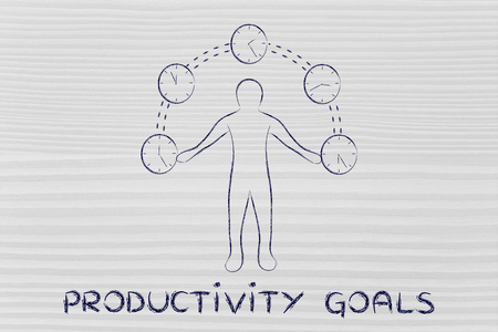 mangement: concept of productivity goals: man juggling with time (clocks illustration)