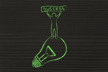 competitive advantage: concept of successful ideas: person standing on lightbulb with Success banner Stock Photo