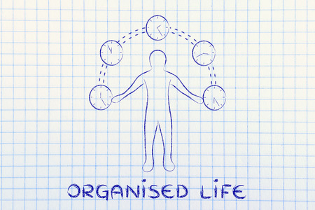 organised: concept of an organised life: man juggling with time (clocks illustration)