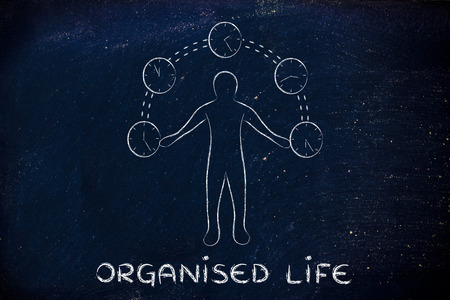mangement: concept of an organised life: man juggling with time (clocks illustration)