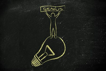 competitive advantage: concept of a brilliant mind: person standing on lightbulb with Genius banner Stock Photo