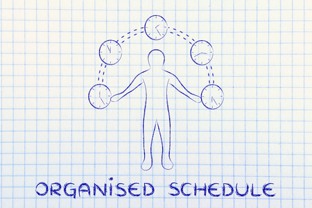 organised: concept of an organised schedule: man juggling with time (clocks illustration)