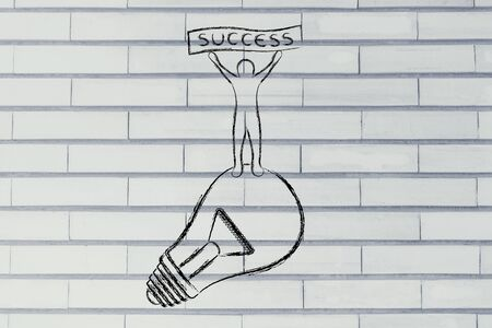 person standing: concept of successful ideas: person standing on lightbulb with Success banner Stock Photo