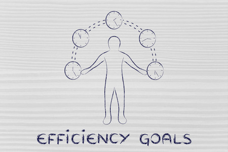 mangement: concept of efficiency goals: man juggling with time (clocks illustration) Stock Photo