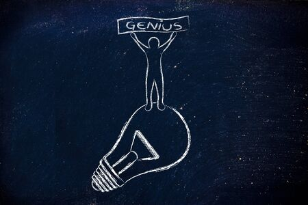 person standing: concept of a brilliant mind: person standing on lightbulb with Genius banner Stock Photo