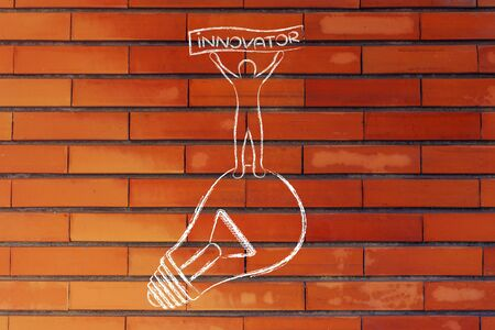 innovator: concept of innovative ideas: person standing on lightbulb with Innovator banner