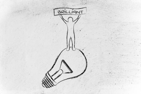 person standing: a genius mind: person standing on lightbulb with a banner saying Brilliant Stock Photo