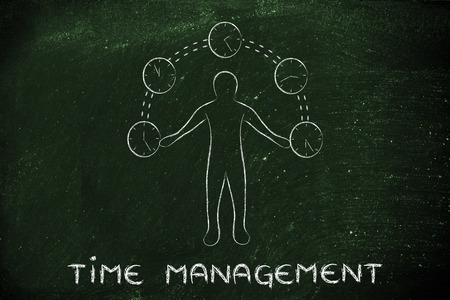 mangement: concept of time management: man juggling with time (clocks illustration)