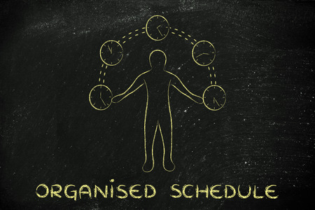 mangement: concept of an organised schedule: man juggling with time (clocks illustration)