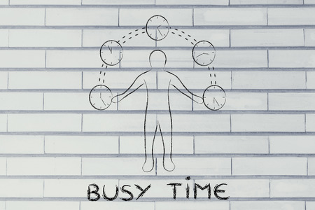 mangement: concept of busy time: man juggling with time (clocks illustration)