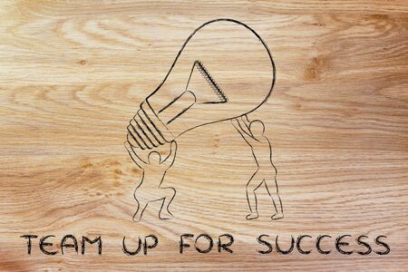 concept of teaming up for success: men lifting up a huge lightbulb