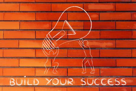 team effort: concept of building your success: men lifting up a huge lightbulb