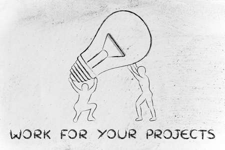 man working out: concept of working for your projects: men lifting up a huge lightbulb