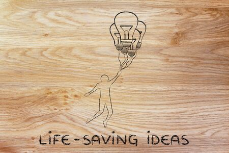 lifesaving: life-saving ideas: person flying by holding up to lightbulb shaped balloons