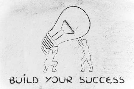 lift and carry: concept of building your success: men lifting up a huge lightbulb