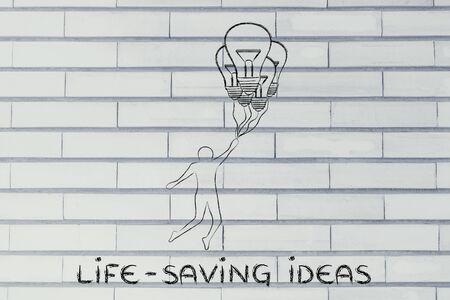 salvavidas: Ideas para salvar vidas: persona volando por explotaci�n, hasta alcanzar globos en forma de bombilla Foto de archivo