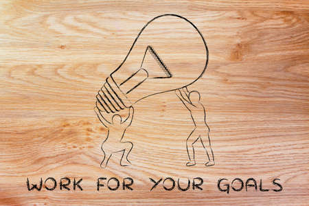 man working out: concept of working for your goals: men lifting up a huge lightbulb