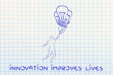meditation help: innovation improves lives: person flying by holding up to lightbulb shaped balloons