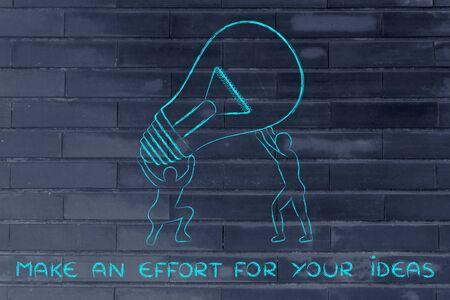 effort: make an effort for your ideas: men lifting up a huge lightbulb Stock Photo