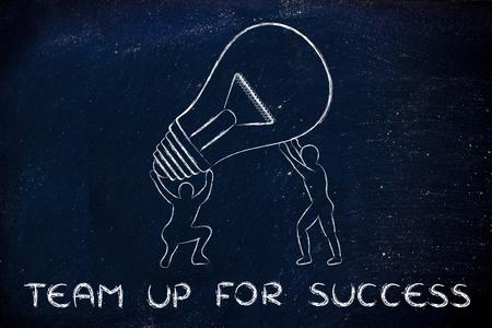 teaming up: concept of teaming up for success: men lifting up a huge lightbulb