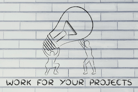 lift and carry: concept of working for your projects: men lifting up a huge lightbulb