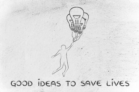 meditation help: good ideas to save lives: person flying by holding up to lightbulb shaped balloons