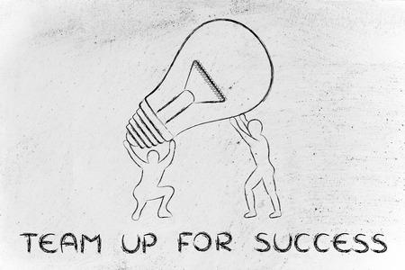 teaming: concept of teaming up for success: men lifting up a huge lightbulb