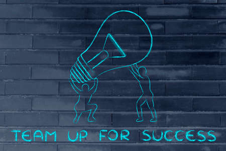 man working out: concept of teaming up for success: men lifting up a huge lightbulb
