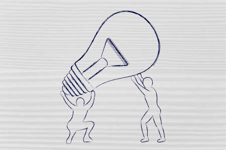 lift and carry: concept of working for your ideas: men lifting up a huge lightbulb Stock Photo