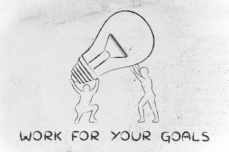 lift and carry: concept of working for your goals: men lifting up a huge lightbulb
