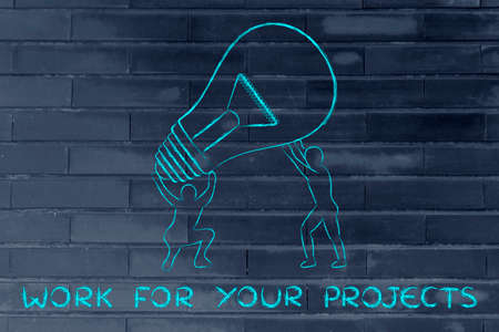 team effort: concept of working for your projects: men lifting up a huge lightbulb