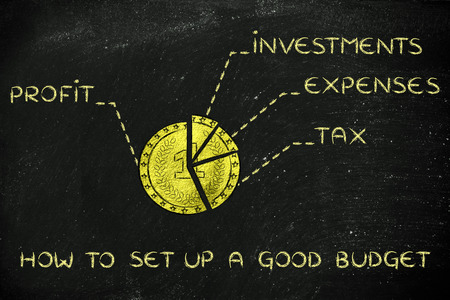 split up: how to set up a good budget: golden coin split into slices with financial elements