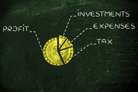 budget: golden coin split into slices with budget elements: profit, investments, expenses, tax