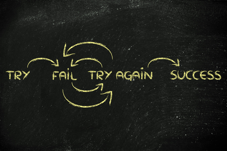 motivational set of steps to success: try, fail, try again, success Stock fotó