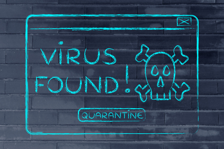 adware: funny minimal pop-up message about a virus found, flat outline illustration