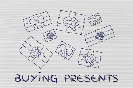 wrapped up: buying presents: illustration with wrapped up gifts