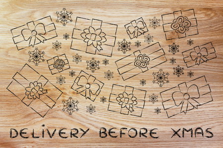 wrapped up: Delivery before Xmas: illustration with wrapped up gifts and snowflakes