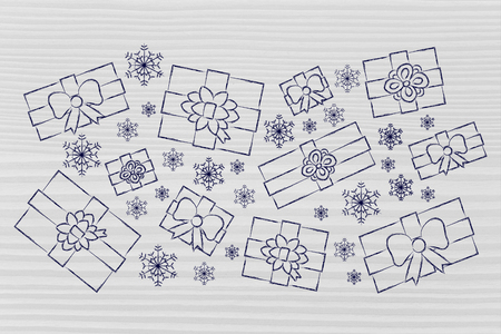 wrapped up: illustration with Christmas or birthday gifts and snowflakes wrapped up