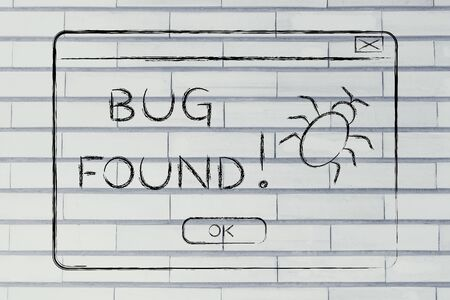 popup: funny minimal pop-up message about a bug found, flat outline illustration Stock Photo