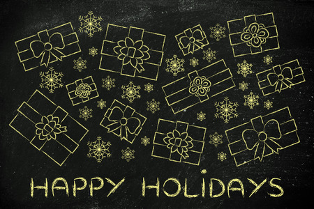 wrapped up: Happy holidays: illustration with wrapped up gifts and snowflakes