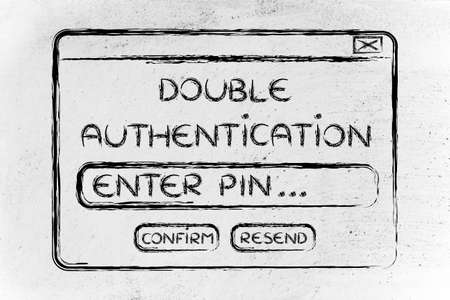 authentification: funny pop-up message about setting up double authentification, flat outline illustration